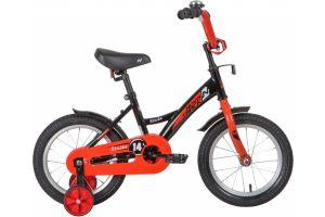"""Велосипед NOVATRACK 14"""" STRIKE чёрный-красный, тормоз нож, крылья корот, полная защ.цепи"""