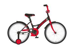 """Велосипед NOVATRACK 20"""" STRIKE черный-красный, тормоз нож, крылья корот, защита А-тип"""