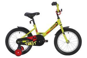 """Велосипед NOVATRACK 12"""" TWIST салатовый, тормоз нож., корот.крылья, полная защита цепи, перед.корзин"""