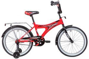 """Велосипед NOVATRACK 20"""" TURBO, монокок, красный, тормоз ножной, крылья и багажни"""