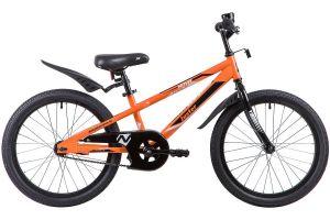 """Велосипед NOVATRACK 20"""", JUSTER,  оранжевый, тормоз ножной, защита  А-тип, пластиковые крылья"""