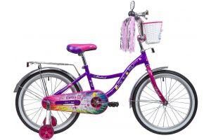 "Велосипед NOVATRACK 20"", LITTLE GIRLZZ, фиолетовый, тормоз нож., пер.корзина, зеркало, крылья и бага"